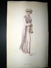 Ackermann 1812 Hand Col Regency Fashion Print. Walking Dress 7-32